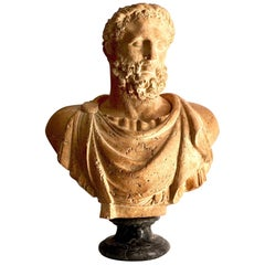 20th Century Terracotta Italian Bust of Emperor