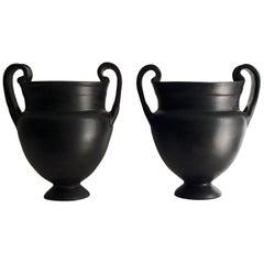 Pair of Ancient Greek Style Black Vases