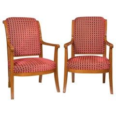 Stylized Mahogany Armchairs, Directoire Period, circa 1800