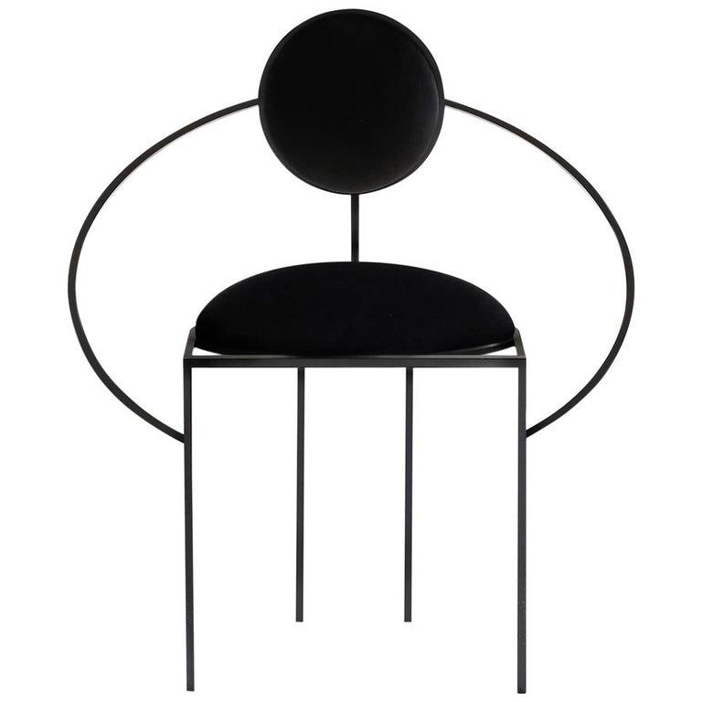 Lara Bohinc, Orbit Chair, Coated Steel and Wool Fabric, Black