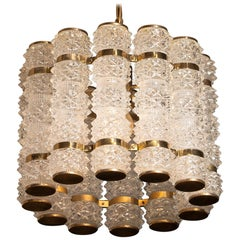Brass Chandelier by Tyringe Sweden with Twelve Crystal Cilinders by Orrefors