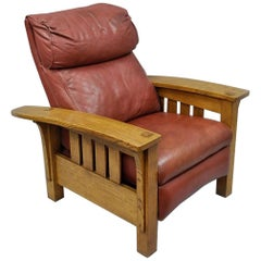 Stickley Mission Oak Bustle Back Leather Recliner Reclining Lounge Chair Bow Arm