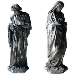Two Ecclesiastical Plaster Figures of the Immaculate Heart of Mary & St. David