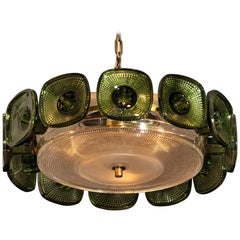 Brass Spherical Pendant in Clear and Green Orrefors Crystal by Carl Fagerlund
