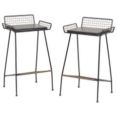 Pair of Tony Paul Iron Bar Stools, 1950s, USA