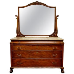 Victorian Marble-Top Carved Mahogany Ball and Claw Foot Dresser and Mirror