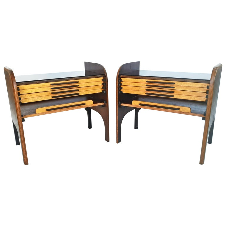 Rare Pair of French 1960s Nightstands