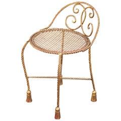 Hollywood Regency Tassels Vanity Chair, Italy, 1960s
