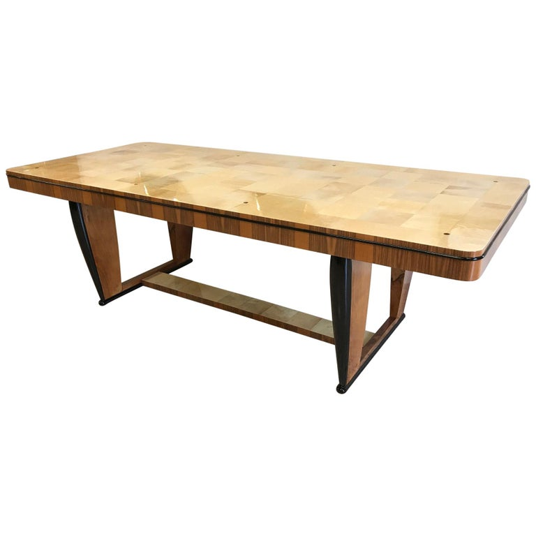 20th Century Art Deco Walnut and Parchment Dining Table