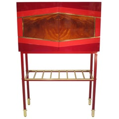 Red Graphic Inlays Cabinet, One of a Kind, Made in Italy