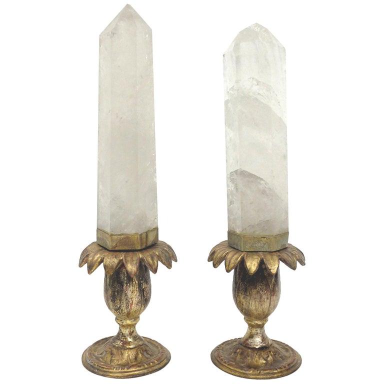 Rare Pair of Rock Crystals, Wunderkammer Specimen of Naturalia, Italy