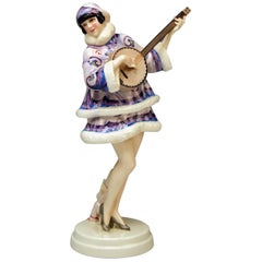 Goldscheider Vienna Lady Banjo Player Zerline Balten Dakon Model 5659 circa 1930