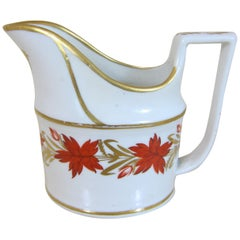 Coalport Porcelain Creamer Decorated with Red and Gilt Flowers