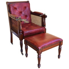 19th Century Regency Style Gentlemen's Leather Armchair and Stool