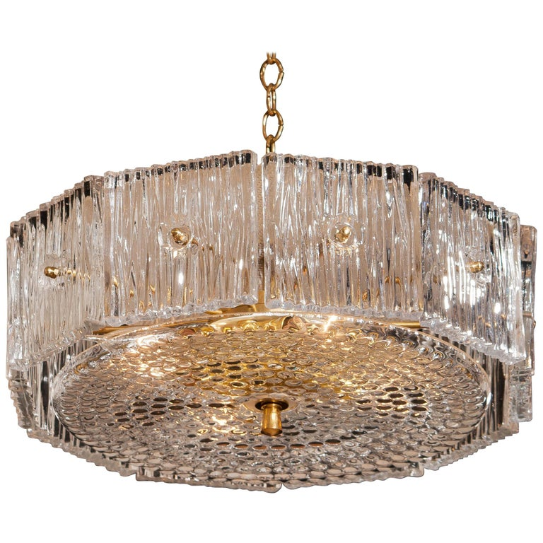 Brass and Clear Crystal Pendant Designed by Carl Fagerlund for Orrefors