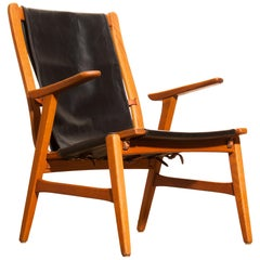1950s, Oak and Leather Hunting Chair 'Ulrika' by Östen Kristiansson
