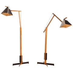 1950s, a Pair of Very Rare Teak and Metal Floor Lamps by Luxus