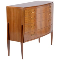 Fagioli Midcentury Florentine Curved Front Chest, Four Drawers Brass Handles
