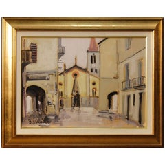 Italian Signed and Dated Painting View of the City Oil on Canvas, 20th Century