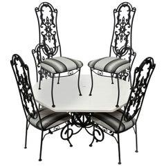 Wrought Iron Patio Sunroom Dining Set, Hollywood Regency