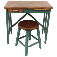 Spanish 1930s Industrial Desk and Stool in Oak Wood and Green Patina