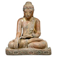 Lacquer Gilded Wood Figure of Buddha, Pre Mandalay Burma Myanmar, 1760-1820 AD