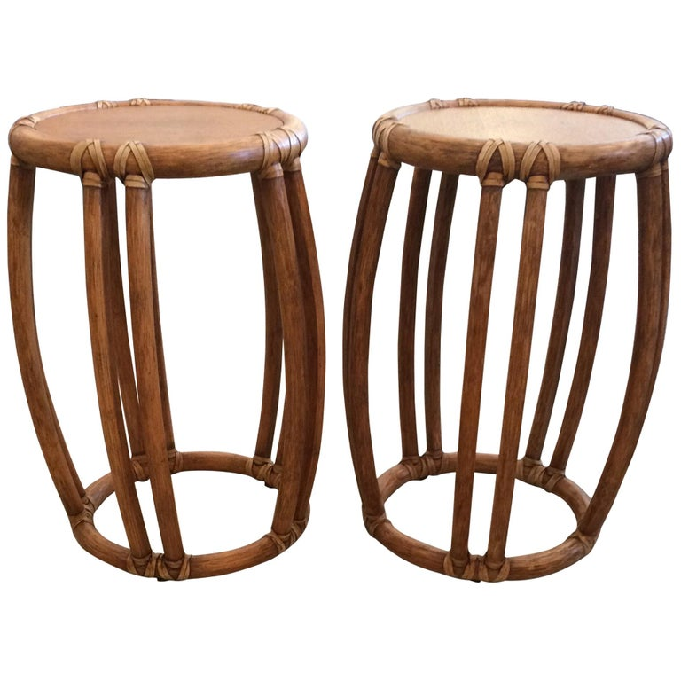Pair of Round McGuire Wood and Rattan Trimmed Side Tables