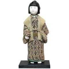Japanese Kimekomi Doll Wearing Silk Kimono, Style of Taisho Romance, 1920s