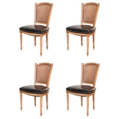 Maison Jansen Stamped Caned-Back Chairs, Set of Four
