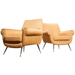 Golden Jacquard Upholstered Easy Chairs by Gigi Radice for Minotti, Brass Legs