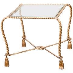 Hollywood Regency Italian Gilt Iron Tassel and Rope Table