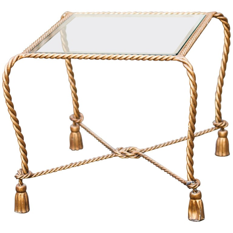 Hollywood Regency Italian Gilt Iron Tassel and Rope Table For Sale