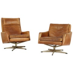 Set of Two Midcentury Leather Chairs, Denmark 1960s