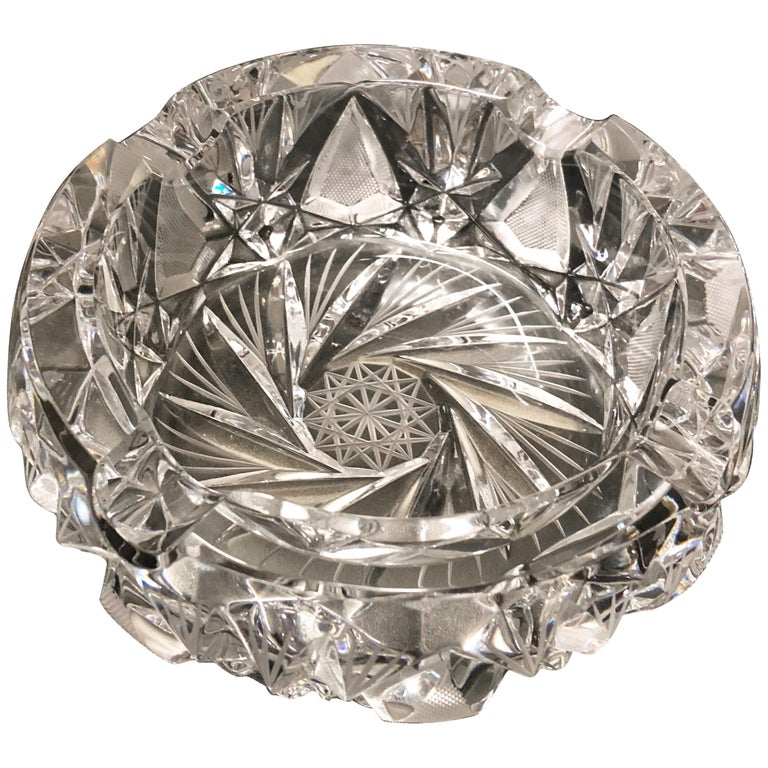 Round Bohemian Crystal Ashtray