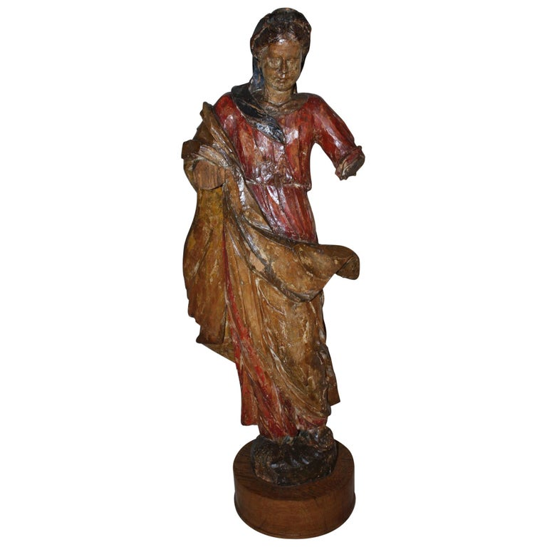 19th Century French Carved Wood and Polychrome Virgin Mary Statue