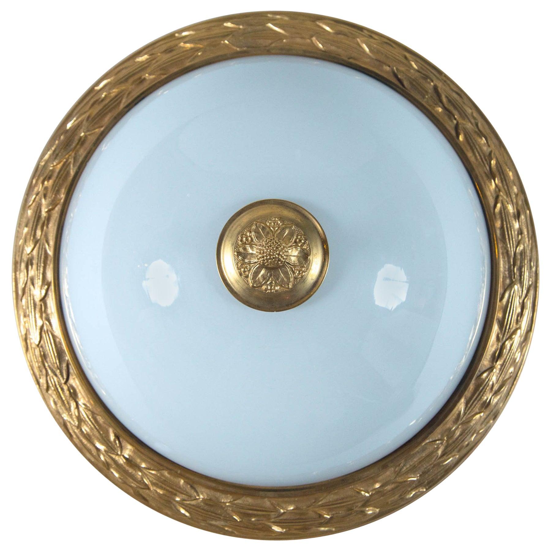 Designer gilt ormolu dore bronze french opaline dome ceiling light fixture