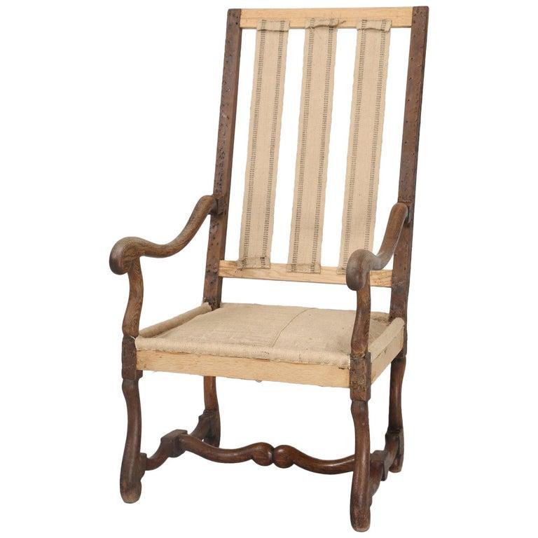 Antique French Os De Mouton Armchair or Throne Chair