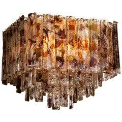1960 Multicolored Italian Squared Venini Murano Crystal Ceiling Lamp by Mazzega
