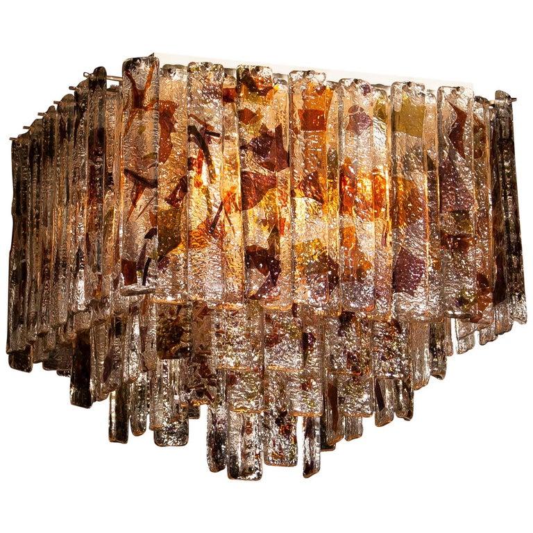 1960 Multicolored Italian Squared Venini Murano Crystal Ceiling Lamp by Mazzega For Sale