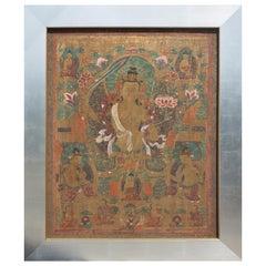 Large Thangka Painting of Manjushri, Bodhisattva of Wisdom, Tibet, circa 1890 AD