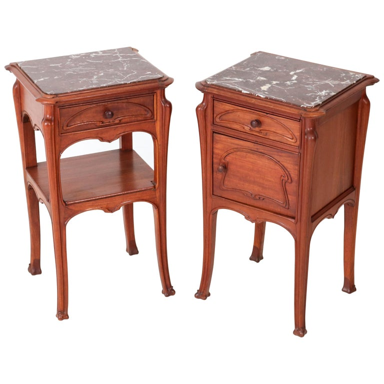 Pair of French Art Nouveau Majorelle Style NightStands or Bedside Tables, 1900s For Sale