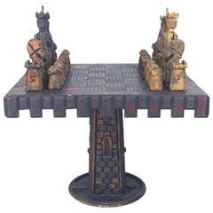 American Rustic Tramp Art Style Chess Game Table