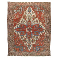 Antique Persian Serapi Carpet, Handmade Wool Oriental Rug, Rust, Ivory, Lit Blue