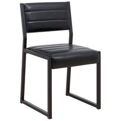Bandholz Dining Chair in Blackened Steel with Upholstered Leather Seat and Back