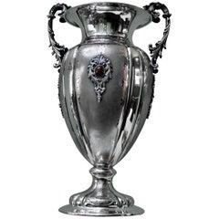20th Century Baroque Italian Silver Engraved Flower Vase, Milan, 1950s