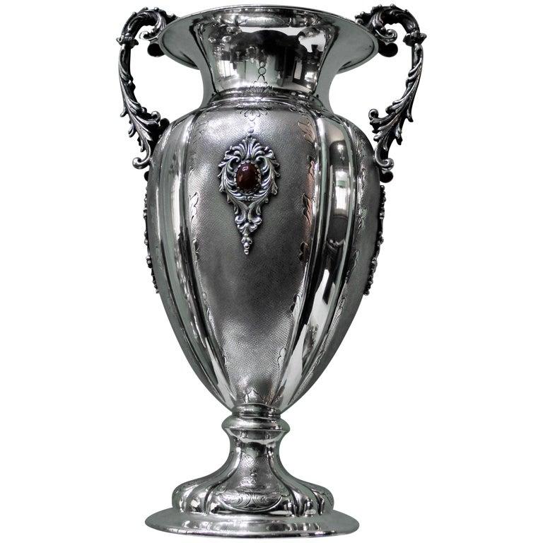 Eros Genazzi 20th Century Modern Italian Silver Flower Vase Milan