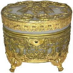 Wonderful French Empire Doré Bronze Opaline Neoclassical Oval Casket Ormolu Box