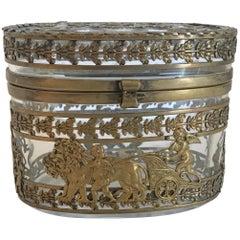 Wonderful French Empire Dore Bronze Neoclassical Oval Casket Ormolu Cherub Box