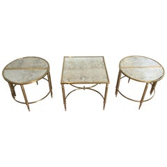 1940s Antique Mirror and Brass Sectional Coffee Table