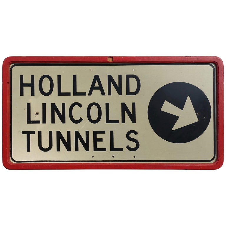 Vintage Holland Lincoln Tunnels Highway Enamel Sign, circa 1950s For Sale